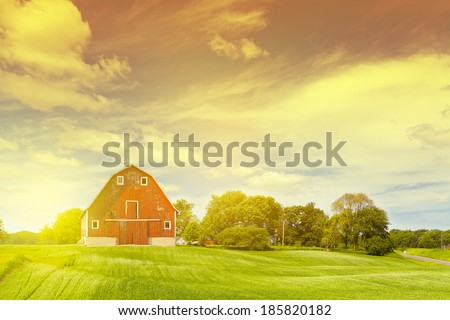 Old Barn In The Morning - stock photo