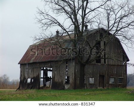 Old barn on a rainy day