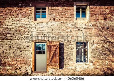 Old barn, renovation - stock photo