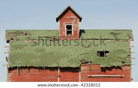 Old barn roof - stock photo