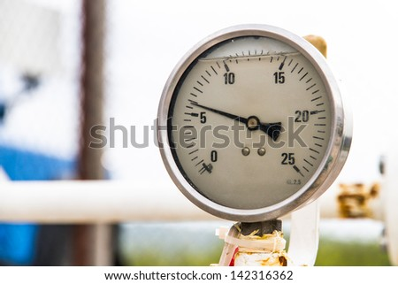 Old barometer with depth of field. - stock photo