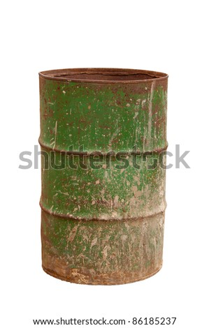 old barrel. isolated on white - stock photo