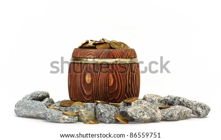 Old Barrel With Gold Coins isolated on white - stock photo