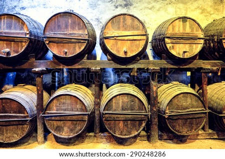 Old barrels for Whisky or wine - stock photo