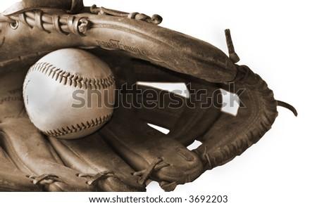 Old Baseball Glove, Sepia-toned(Isolated on white background) - stock photo