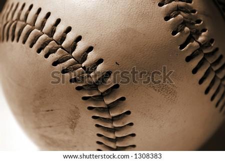 Old Baseball, Old Beat-up Baseball on white background - stock photo