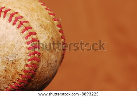 old baseball with copy space - stock photo