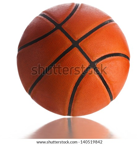 Old Basketball ball detail leather isolated on a white background - stock photo