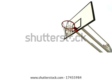 old basketball net and reflection isolated in white (left side) - stock photo