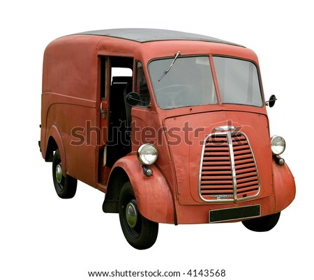 Old battered delivery van, isolated on white. - stock photo