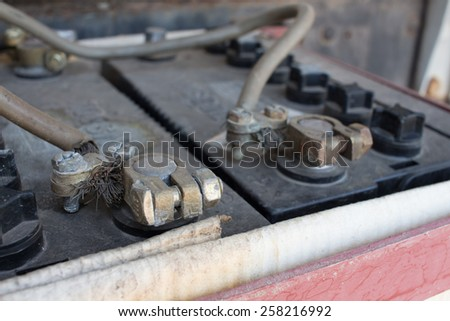 old battery terminal of car - stock photo