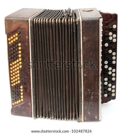 Old bayan (musical instrument as accordion) isolated on white - stock photo