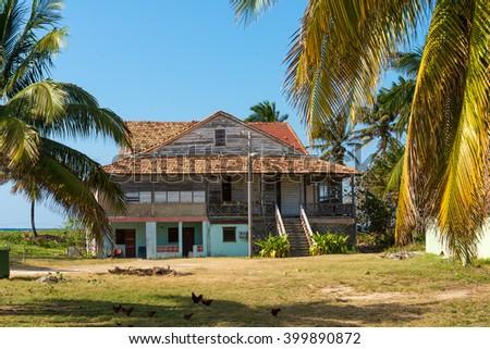Old beach house in Varadero, Cuba - stock photo