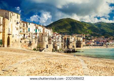 old beach of a small town Cefalu in the province of Palermo, Sicily - stock photo