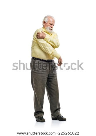 Old bearded man having shoulder pain isolated on white background
