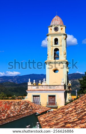 old beautiful church in Trinidad in the sky - stock photo