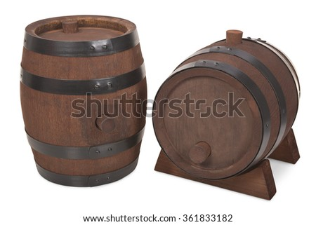 old beer barrels with stand isolated on white - stock photo