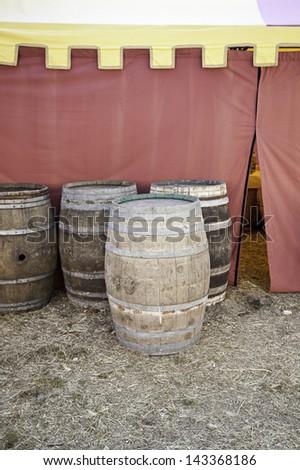 Old beer kegs - stock photo