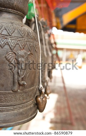 Old bells in a buddhist temple - stock photo