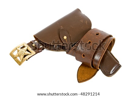 Old belt and holster - stock photo