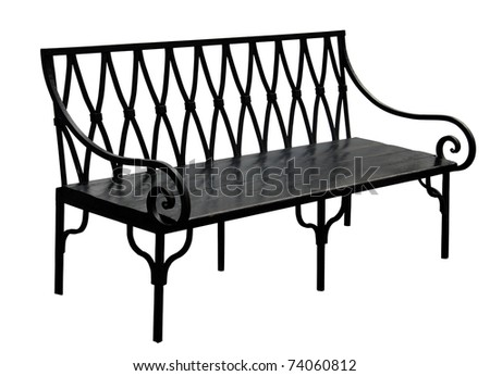 Old bench isolated on white background - stock photo
