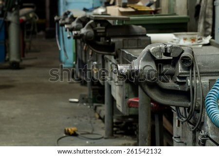 old bench vise in focus - stock photo