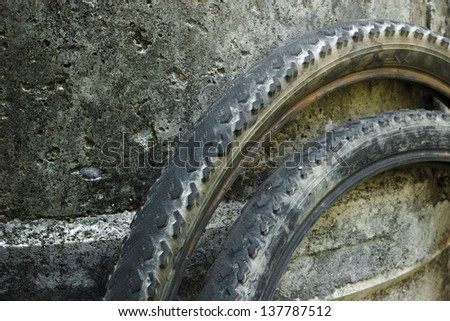 old bicycle on cement background