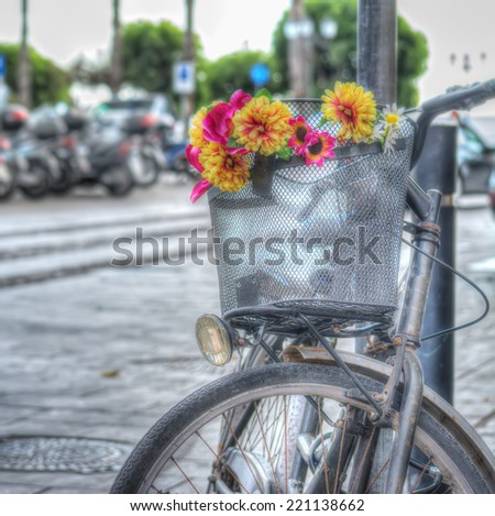 old bicycle with flowers in hdr tone