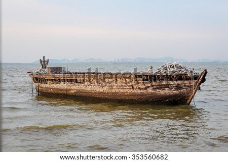 Old big wooden boat in the sea