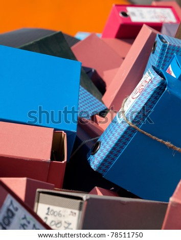 Old binders - stock photo