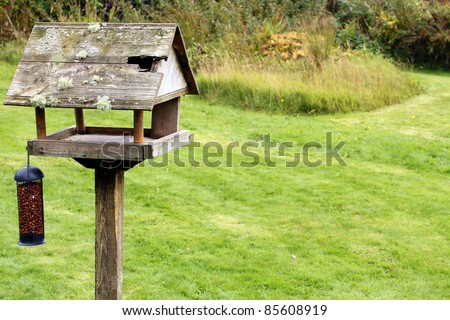 Old Bird Table in Quaint Country Garden