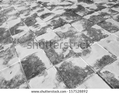 Old black and white brick walkway - stock photo