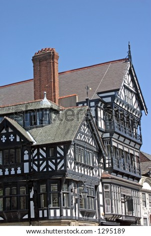 Old Black and White Building in Chester England - stock photo