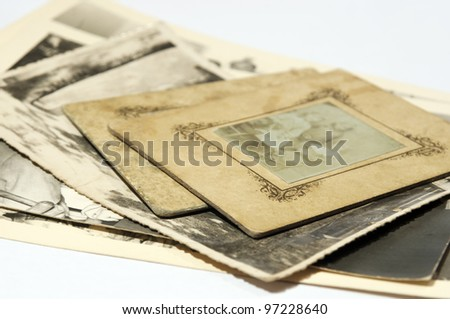 Old black and white photographs, selective focus - stock photo