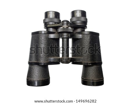 old black Binocular isolate on white background - stock photo