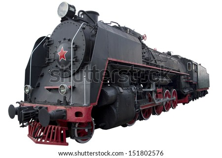 old black locomotive for design - stock photo