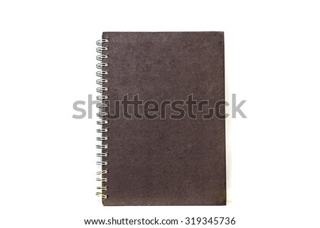 old black notebook isolated - stock photo