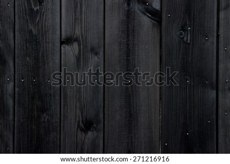 Old black painted wood wall - texture or background - stock photo