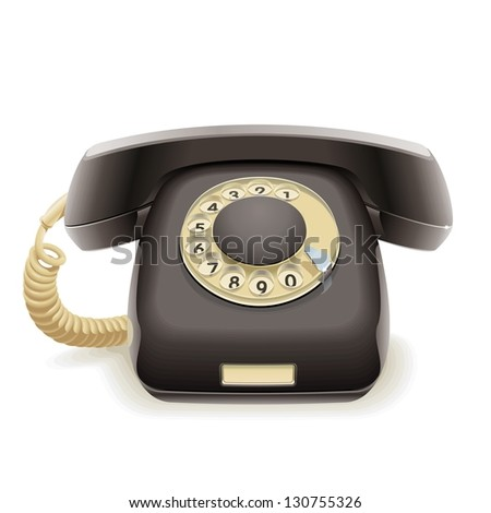 Old black phone. Realistic illustration of old black disk retro phone handset to the wire. - stock photo