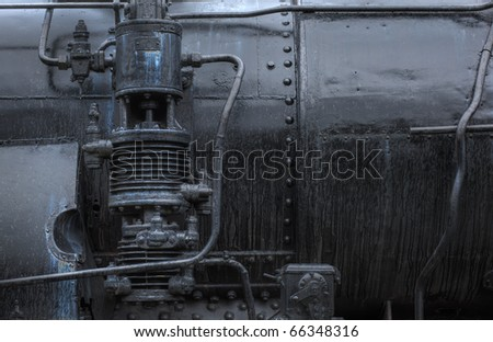 old black steam locomotive parts - grungy look