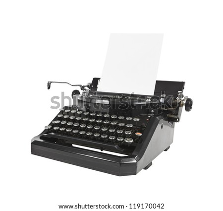 Old Black Typewriter with Paper - stock photo