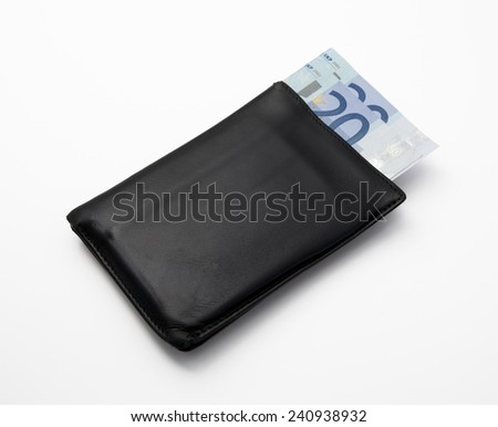 Old black wallet photographed in studio