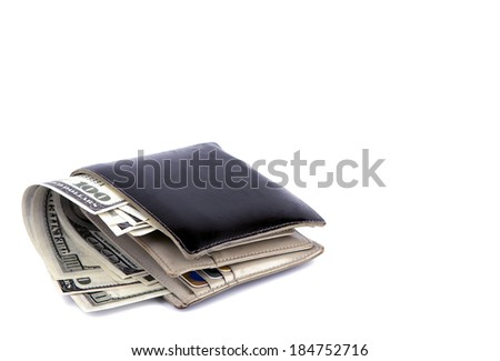 Old black wallet with dollar  isolated on white background - stock photo