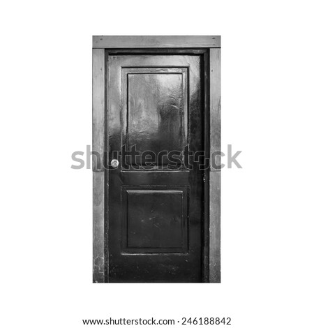 Old black wooden door isolated on white background - stock photo