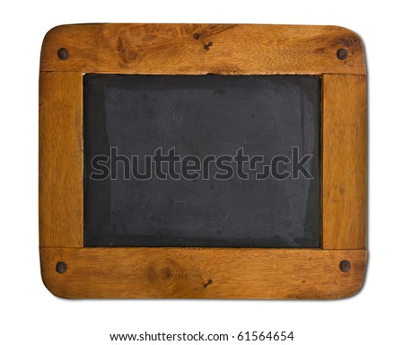 Old blackboard with a wooden frame isolated on white background. - stock photo