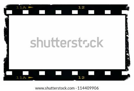 Old blank film strip isolated on white - stock photo