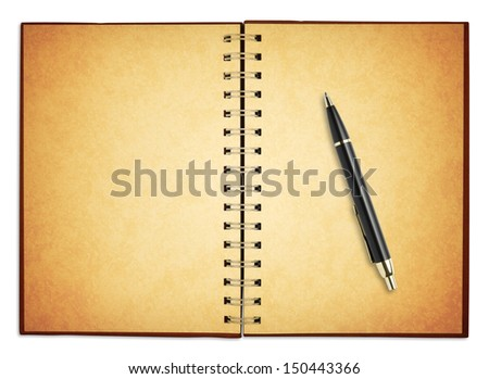 old blank notebook with new pen for take notes, included clipping path - stock photo