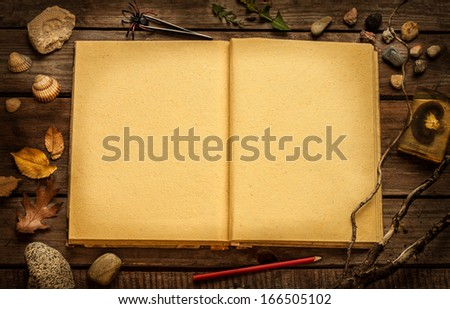 Old blank open book on vintage planked wood table from above. Education - discovering nature or science research concept. Rustic background with text space.