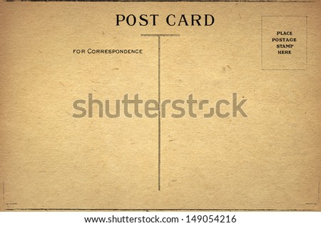 Old Blank Post Card - stock photo