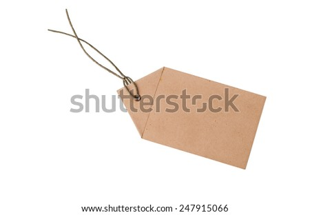 Old blank tag. Price tag, gift tag, sale tag, address label on write - stock photo